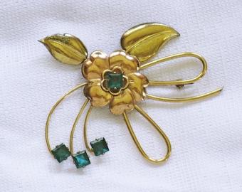Vintage Harry Iskin Gold Vermeil Floral Green Rhinestone Brooch Pin (B-2-2)