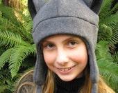 Fleece Kitty Cat Hat - Gray / Black Aviator Style by Ningen Headwear on Etsy