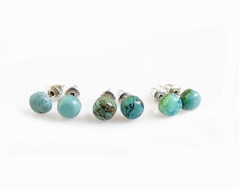 Turquoise Stud Earrings, Small Genuine Turquoise Studs, Tiny Turquoise Studs