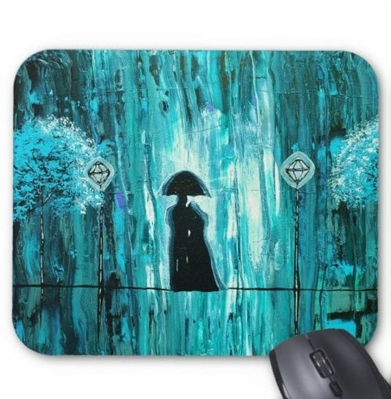 Mousepad Mouse Pad Fine Art Love in the Teal Rain Painting Rainy Turquoise Aqua Blue Green Raining Couple Silhouette Umbrella Trees Lanterns