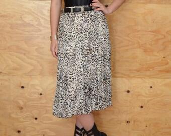 Vintage 80's Sheer Leopard Skirt Tiered SZ S