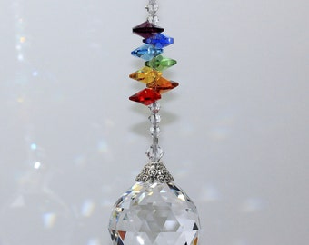 mw Swarovski® Crystal 30mm Ball, LONG Beaded Strand & Stacked Chakra Hearts Home SunCatcher Car Charm Rainbow Maker, Pearl Place N More