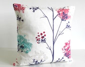 Designer Pillow Cover, Floral Cushion Cover, Flower Pillow Sham, 16 Inch, 16x16 - Wildflowers Hot Pink
