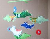 "Baby Mobile - Nursery Mobile - Green Crocodiles Crib Mobile - ""Six Green Plaid alligators"" Mobile  (Custom Color Available)"