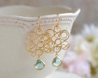 Gold and Blue Earrings, Lace Filigree Aqua Blue Erinite Teardrop Crystal Glass Earrings, Bohemian Chandelier Earrings, Gold Aqua Wedding