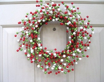 Berry Wreath - Christmas Door Wreath - Red Green White - Berry Candle Ring - Double Doors - Wreath Pair - Holiday Wreath