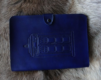 TARDIS inspired Handstitched A5 Leather Journal