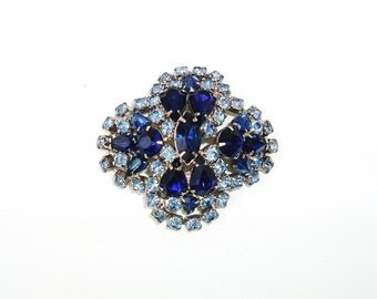 Vintage Blue Sapphire and Cobalt Rhinestone Brooch / Dome Brooch  - Statement Pin 1960s Jewelry