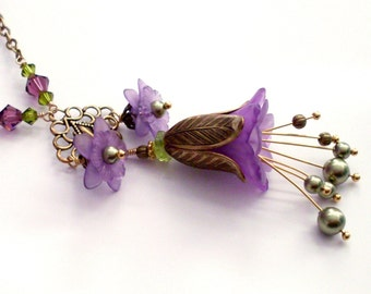 Purple floral chandelier necklace - fantasy flower pendant necklace in antiqued gold brass, lucite, crystal. Ornate detailed flower jewelry