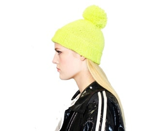 Neon Yellow Hat with Pompom, hand-dyed and hand knit beanie in pure wool, oversized pom pom hat