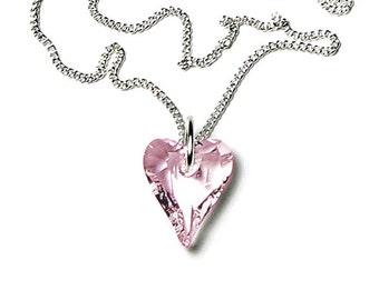 Swarovski Crystal Rosaline Wild Heart Silver Pendant Necklace Romantic Valentine's Day Jewelry for Women Pink Birthday Gift Teen Girlfriend