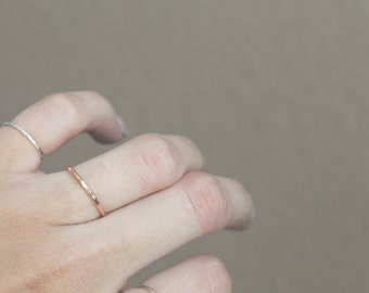 Fox Stack Ring | rose gold , yellow gold, or sterling silver textured stack ring . Choose your material