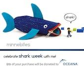 Proceeds to Ocean Conservation - Shark Case by MinneBites / Desk Organizer Bag - Kids Nautical Pencil Kit - Scuba Diver Gift - Blue Fish Bag