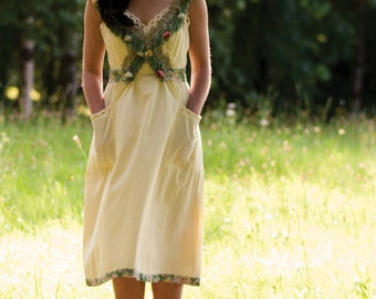 Lemon yellow dress, vintage inspired dress, yellow bridesmaid dress, green and yellow dress, vintage bridesmaid dress