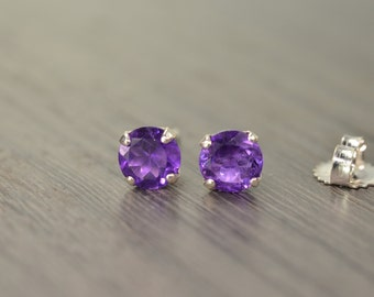 Amethyst Classic Stud Earrings, with 2ct / 4ct tw African Amethyst FEBRUARY BIRTHDAY