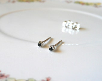 1.5mm very tiny stud earrings, sterling silver black gem studs, authentic black spinel gemstone earring