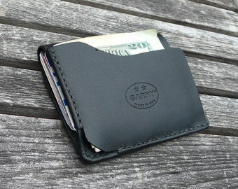 GARNY -  Leather card case No 9 / Simplified wallet from black leather - al