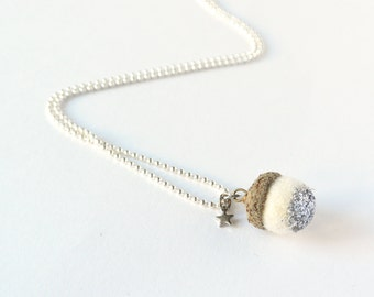 White necklace with a tiny acorn with silver glitter and tiny star. Woodland necklace.