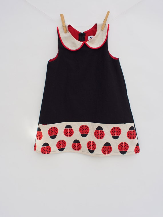 Girls Dress / Lady Bug Dress / Red, Black and White / Party Dress / Mod Dress