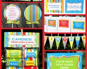 Sweet Shoppe Party Invitations & Decorations - full Printable Package - INSTANT DOWNLOAD with EDITABLE text - you personalize at home
