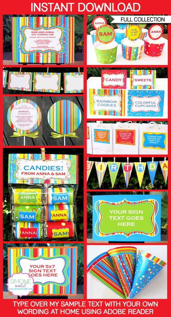 Sweet Shoppe Birthday Party Decorations & Invitation - full Printable Package - INSTANT DOWNLOAD with EDITABLE text you personalize at home