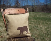 Bear Pillow Cover - Bear Pillow - Decorative Burlap Pillow - Rustic Pillow - Cabin Pillow - Wildlife Pillow - Woodland Animal Pillow - Bear
