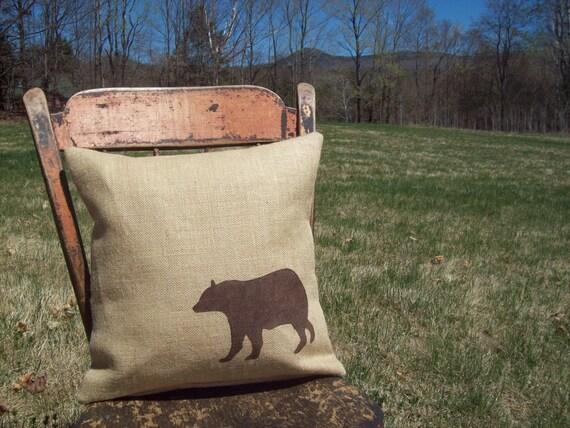 Bear Pillow Cover - Bear Pillow - Decorative Burlap Pillow - Rustic Pillow - Cabin Pillow - Wildlife Pillow - Woodland Animal Pillow - Bear