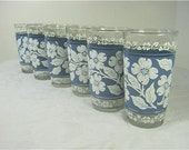 Vintage DOGWOOD TUMBLERS Set/6 Blue White Flowers Glasses Hazel Atlas Glassware