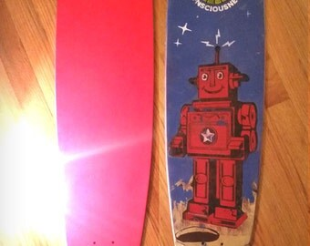 Skateboard Deck, Retro Vintage Robot Pintail Longboard Designed and Distressed Skate-deck. 9 x 43 inch skate deck