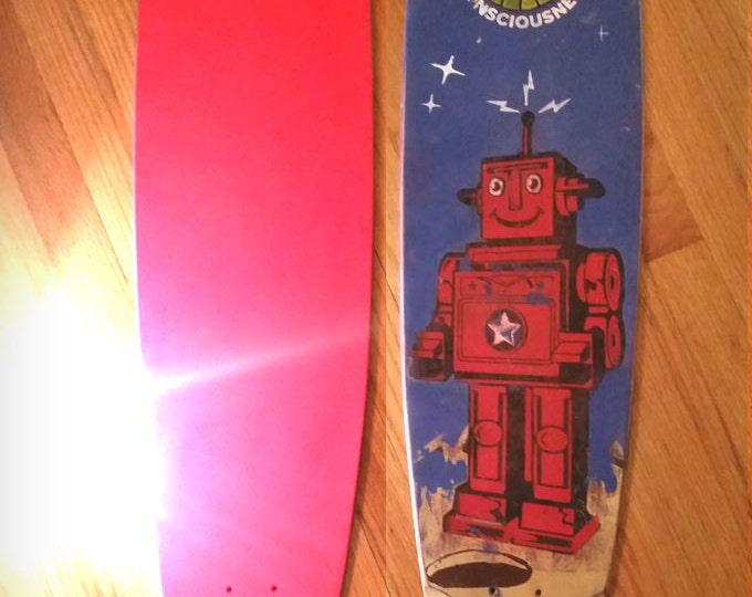 Skateboard Deck, Retro Vintage Robot Pintail Longboard Designed and Distressed Skate-deck. 9 x 43 inch skate deck