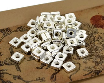 25 Mykonos 6mm Square Washer - Fine Silver - Greek Ceramic Beads