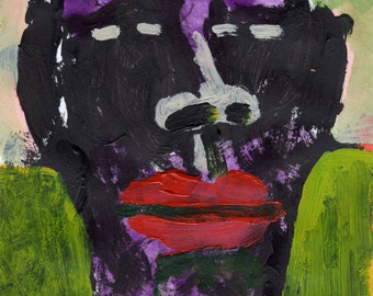 Original Painting - 'Purple Head with Red Lips' by Peter Mack