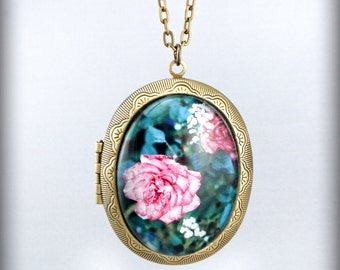 Rose Vintage Locket Necklace Photo Pendant On Chain Original Handmade brass
