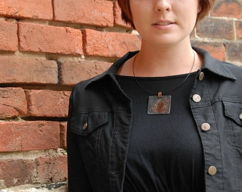 Post Apocalyptic Pendant Cool Copper Necklace Enamel Pendant Reversible Funky Square Necklace