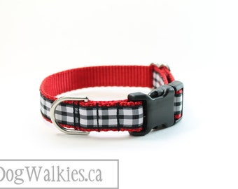"""Kate Gingham Dog Collar - 3/4"""" (19mm) Wide - Martingale or Side Release - Choice of style and size // Red // Black & White // Fox and Hound"""