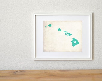 Hawaii Rustic State Map. Personalized Hawaii Map. Hawaii Wedding Map. Wedding Gift. Engagement Gift. Honeymoon Gift. Art Print 8x10..