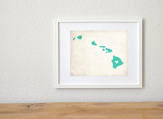 Hawaii Rustic State Map. Personalized Hawaii Map. Hawaii Wedding Map. Wedding Gift. Engagement Gift. Honeymoon Gift. Art Print 8x10..