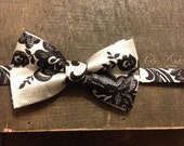 The Monochrome - Silver and Black Silk Bow Tie