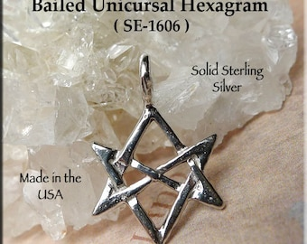 Sterling Silver HEXAGRAM Necklace, .925 Silver Unicursal Pendant, Aleister Crowley Pagan Jewelry, Thelema Charm, SE-1606