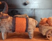 Magnificient sheep and his bff, Milton the Crow pulling their pumpkin wagon