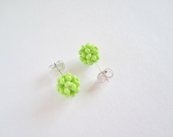 Spring Green Beaded Post Earrings- glass seed bead studs