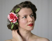 "Rose Fascinator, Flower Hair Clip, 1930s Headpiece, Vintage Hair Accessories Dark Pink Red - ""A Wink & A Kiss"""