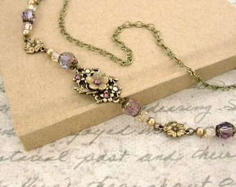 Victorian Necklace - Vintage Style Purple and Gold Jewelry - Antique Style Bronze Floral Swarovski Crystal Antique Brass Choker Necklace