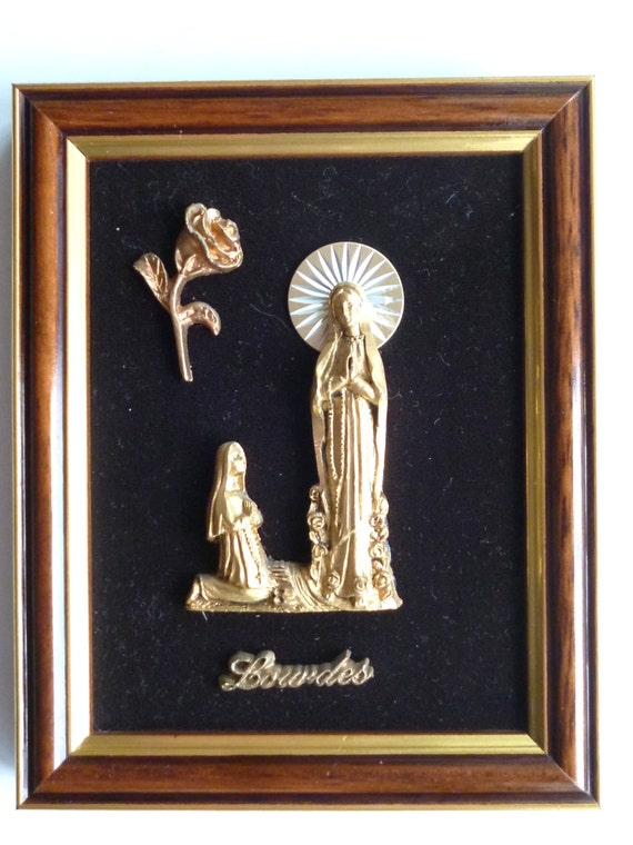 Lourdes vintage religious home decor lourdes shrine for Religious decorations for home