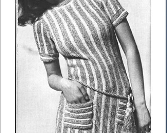 Knitting Pattern, Women's Knit Tunic, Vintage 1970's, PDF, **Instant Download**