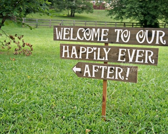 Happily Ever After Sign, Welcome To Our Wedding Sign, Happily Ever After Starts Here, Wood Arrow Sign, Rustic Country Wedding, Custom Sign