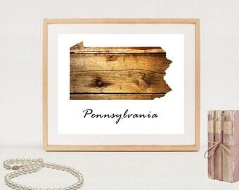 Pennsylvania state map - INSTANT DOWNLOAD - Pennsylvania printable poster - US states digital maps