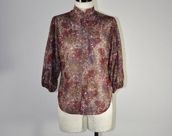 70s purple sheer floral blouse / 1970s leaf print chiffon top / vintage high neck tunic