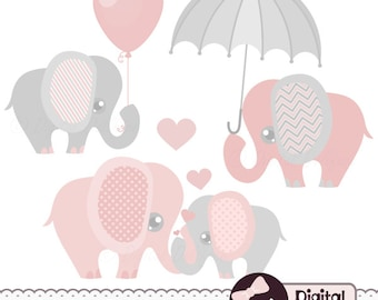 Pink and Grey Elephant Clip Art, Elephant Baby Shower ...