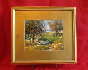 Oil Painting - Hand-Painted Landscape of Orchard Trees 14 x 16 Framed Size